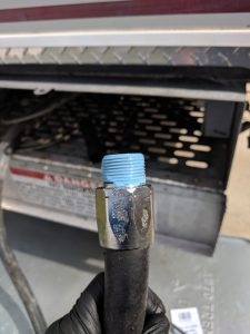Pipe thread sealant on hose end