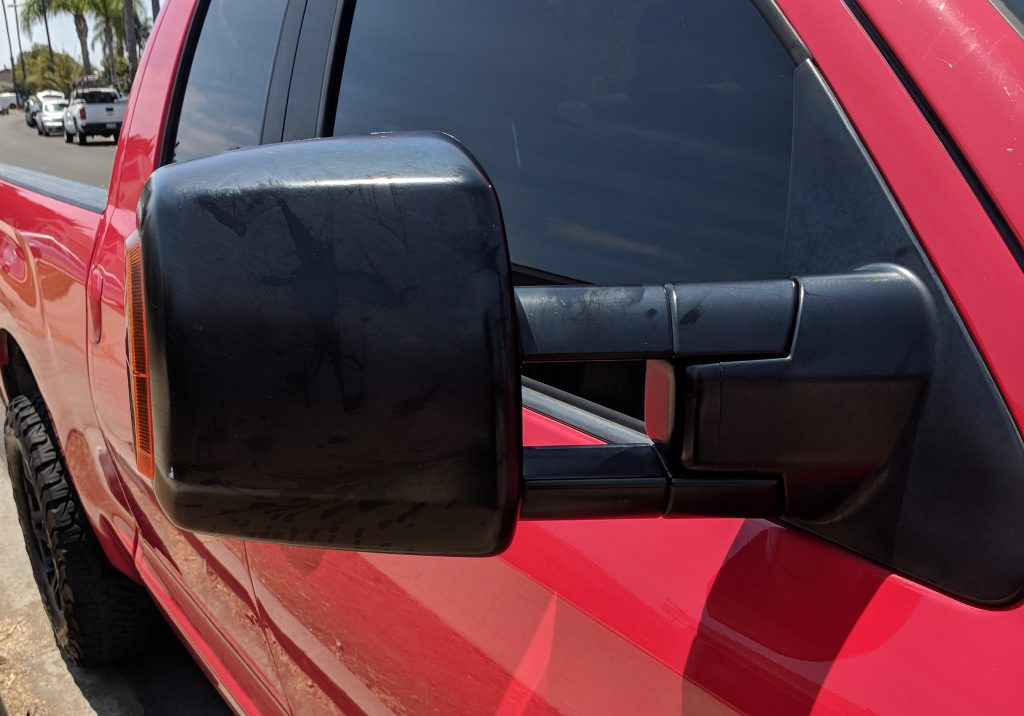 Side View Mirror Black Plastic Restorer Before