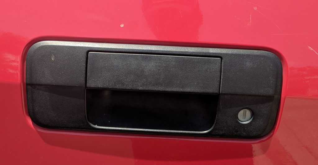 Tailgate Handle Black Plastic Restorer Before