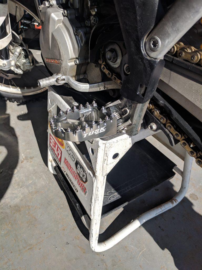 Tusk Billet Race Foot Pegs Installed Side KTM 450 SXF