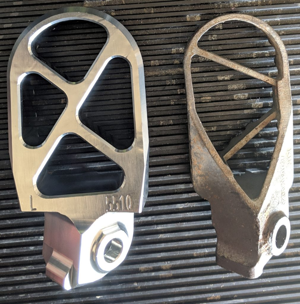 Tusk Billet Race Foot Pegs vs Stock Bottom KTM 450 SXF